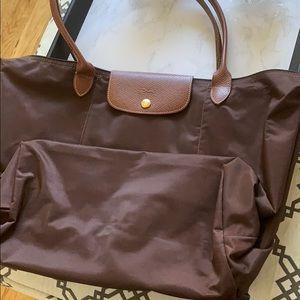 Brown Longchamp large tote